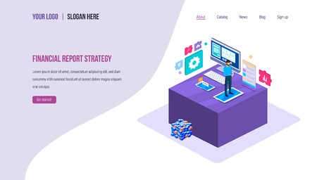 Financial report strategy. Business analysis, teamwork, business diagram graph chart, money income, financial analytic, investments, market research, planning. Landing page template Isometric vector