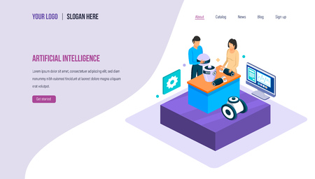 Artificial intelligence. Assembly of small parts of robot with technology of digital brain with artificial intelligence. Engineering technology of future. Landing page template. Isometric vector. Иллюстрация