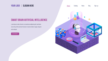Future technologies, research and inventions in data center. Smart robot with artificial intelligence, digital brain memory with thought process. Landing page template. Isometric vector. Иллюстрация