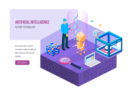 Work a research laboratory with future technology. Chemical research, digital robots with artificial intelligence, electronic devices, chain DNA, molecules. Landing page template. Isometric vector.