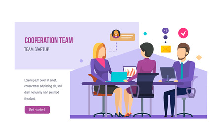 Cooperation team, teamwork on start-up business project. Strategic, financial planning.  イラスト・ベクター素材
