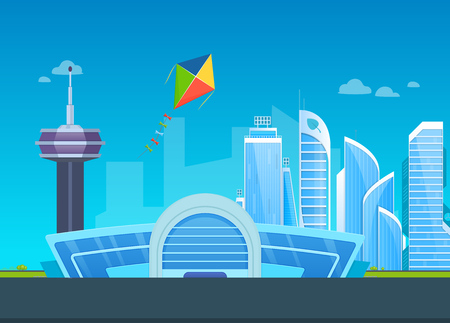 Exterior of airport building with landing strips, on background of smart city, cityscape, high-rise multi-storey buildings, skyscrapers, business centers, flying in the sky kite. Vector illustration.