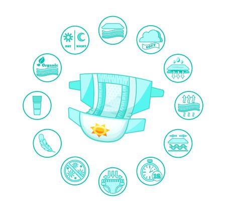 Couches absorbantes pour bébés ouvertes, pantalons pour enfants, avec des badges caractéristiques.