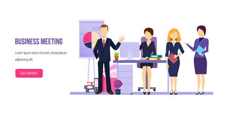 Business meeting, working process. Brainstorming, team coaching, teamwork, financial planning. Ilustração