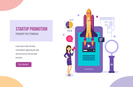 Startup promotion. Launch of new products, services in company's business, promotion on market, news, tv, set of marketing activities, smm analysis, research in social networks. Vector illustration.