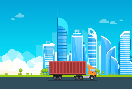 Modern eco-friendly, city of future, with car transport vehicle on asphalt road. Truck, transportation, delivery of products, shipping. Landscape, high-rise building, skyscrapers. Vector illustration Illustration