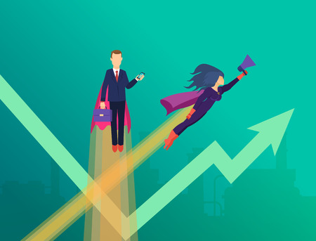 Business growth, achievement, successful economic activities. Superheroes development successful startup. Superheroes in business, project management, success in work, leaderships. Vector illustration. Illustration