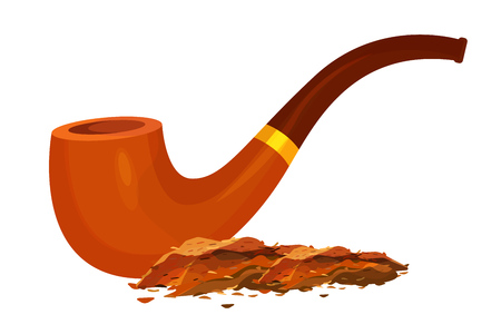 Smoking tobacco and antique, wooden, smoking pipe. Tobacco powder in a smoke vintage tube. Vector illustration isolated.
