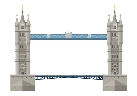Traditional London Bridge Tower Bridge. Cultural value and sight of the state of Great Britain. Swing bridge over the River Thames in London. Vector illustration. Ilustrace