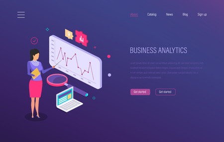 Business analytics. Strategic analysis development, investment growth, marketing research, financial planning, chart graphic report, business forecasting, analytics dashboard. Isometric vector 向量圖像