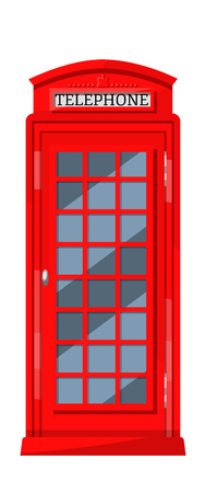 London red telephone booth with payphones. Cabin booth, communication device and traditional recognizable element of UK culture. Vector illustration. 向量圖像