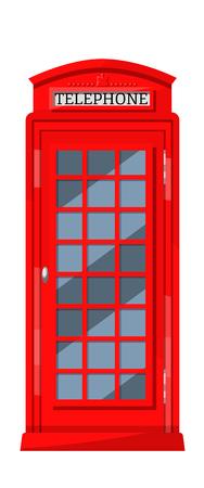 Londyn czerwona budka telefoniczna z automatami telefonicznymi. Kabina, urządzenie komunikacyjne i tradycyjny, rozpoznawalny element kultury Wielkiej Brytanii. Ilustracja wektorowa.