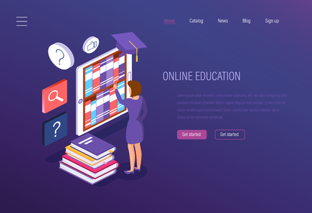 Online education. Media book library, e-learning, seminars, university studies, knowledge acquisition. Reading an e-book from archive of books. Electronic library, knowledge base. Isometric vector. Illustration
