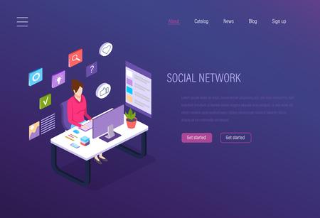 Social network, social media marketing development, business analytics, digital communication, chatting. Promotion, customer acquisition, advertising, working internet environment Isometric vector