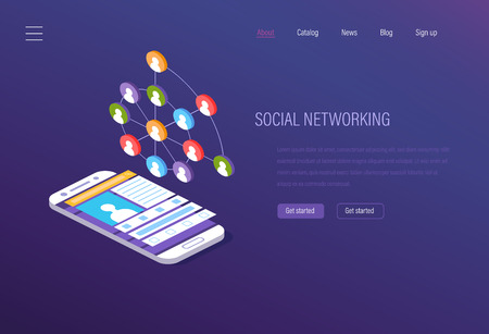 Social networking, social media marketing, digital online chatting. Communication of Internet users in social networks and exchange of data, photos, documents, media library. Isometric vector.