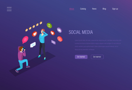 Social media, digital technology. Leisure, work in media space. Communication of Internet users in networks, exchange of data, comments in social networks, like hearts on photos. Isometric vector. Ilustrace