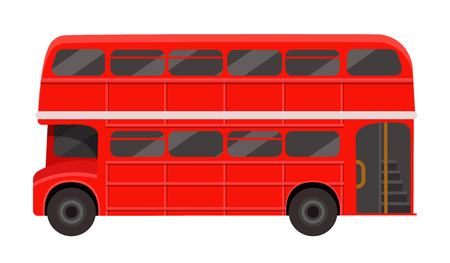 Modern red London double decker bus. Passenger vehicle for transportation of people, excursions around the city, traditional British public transport, side view. Vector illustration.