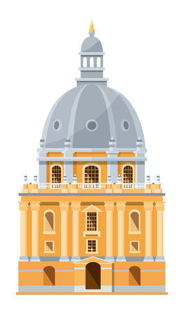 Modern exterior of building of British University in Oxford, England. Education of students in prestigious, oldest, world university. Education, knowledge, teaching. Vector illustration.