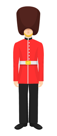 Military soldier character people of royal guards of Great Britain.