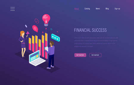 Financial success. Growth of economic finance indicators. Success in capital market investments, e-commerce. Marketing research, financial success report, strategic business planning isometric vector.
