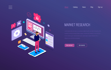 Market research. Analysis, growth chart graphic, research statistic, strategic financial planning, business analytics, communications, advertising e-commerce seo Isometric vector