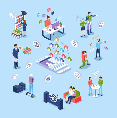 Digital technology. Online education, e-learning, marketing, promotion, social networking, leisure, work in media, internet chat, exchange of data, selfies photos online cinema Isometric vector 向量圖像