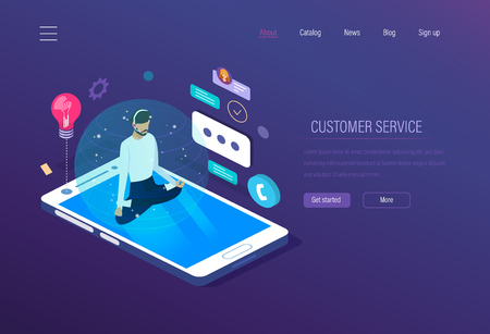 Customer service. Technical support, helpline operator engaged consultation of clients. Help desk, mobile support, online support manager. Online chat, work with reviews, feedback. Isometric vector.