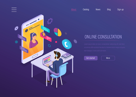 Online consultation. Online chat, voice dialogue, video conferencing, mobile technical support, help desk, customer media service. Operator of hotline serves and advises customers. Isometric vector. Çizim