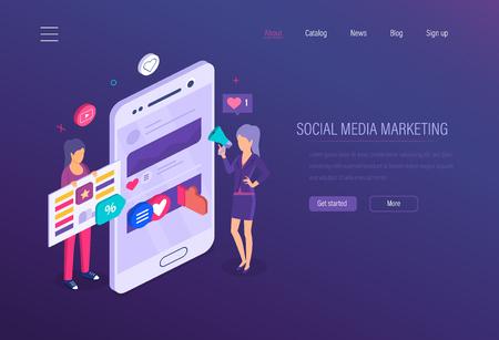 Marketing de medios sociales. Redes sociales, marketing empresarial online, planificación estratégica de medios, análisis financiero empresarial, publicidad, estrategia de contenidos y gestión digital. Vector isométrico.