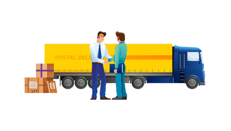 Courier of transport service, conclusion contract, business partnerships, goods ordered in delivery. Heavy truck for delivery, courier service, transportation on large truck wagon vector illustration.