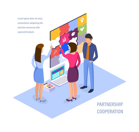 Partnership cooperation. Collaboration of business colleagues, corporate work in teamwork, start-up, strategic planning, brainstorming, discussion of issues and common issues. Isometric vector. Illustration