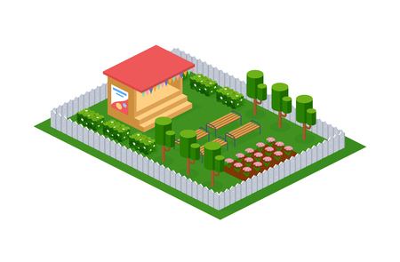 Outdoor appearance of stage design, for staging children's performances in kindergarten, on open air. Park with benches for the audience, landscape with plantings. Isometric vector.