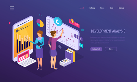Development analysis, research of statistics indicators, financial growth graph, reports, market research, crisis, decline demand, business analytics, strategic planning promotion Isometric vector