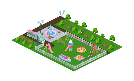Outdoor park, childrens playground in kindergarten, in open air. Recreation park with benches, landscape with plantings, fountain and childrens gaming equipment, transport. Isometric vector. Illustration