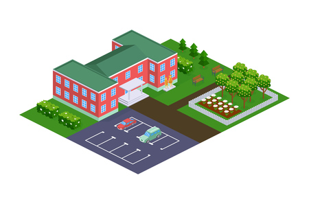 Kindergarten building, urban landscape, garden plot, relaxation park with fountains, parking car for staff of institution. Kindergarten building with kids group. Isometric vector.