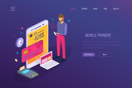 Paiement mobile, marketing numérique. Systèmes de paiement en ligne, e-commerce, achats en application mobile. Achats sans espèces via un terminal de paiement, service d'assistance au paiement. Vecteur isométrique. Vecteurs