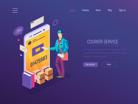 Courier service. Delivery courier, online order tracking goods. Mobile postal service application courier delivery of parcels, letters, books. Navigation route for transportation. Isometric vector.
