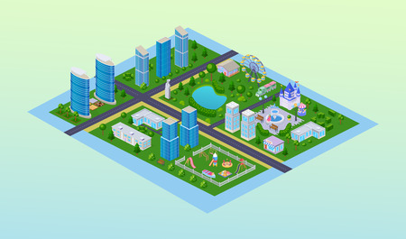 Megapolis cityscape, three-dimensional view of city, high skyscrapers of building, houses, business center, road around city, kids playground, shops, kindergarten, amusement park. Isometric vector