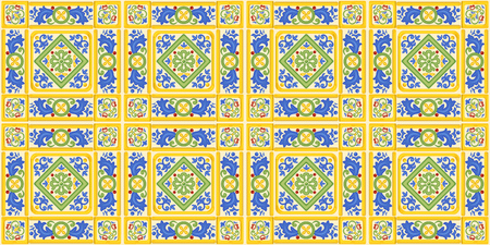 Spanish ornament, seamless background, pattern, decoration, colorful decor with geometric figures. Tiles in Spanish style, for wallpaper, backgrounds and decoration designs. Vector illustration.