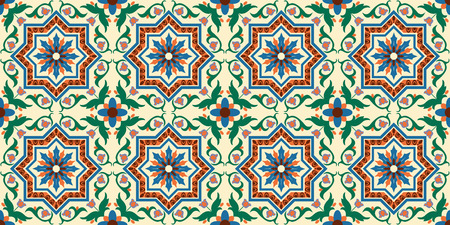 Italian seamless background, pattern with ornaments, decoration, colorful decor with beautiful mosaic. Tiles in Italian style, for wallpaper, backgrounds and decoration designs. Vector illustration.