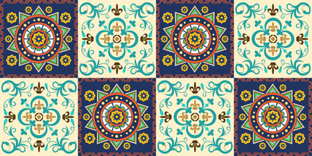 French seamless background, pattern with ornaments, decoration, colorful decor with beautiful mosaic. Tiles in Mexican style, for wallpaper, backgrounds and decoration designs. Vector illustration.