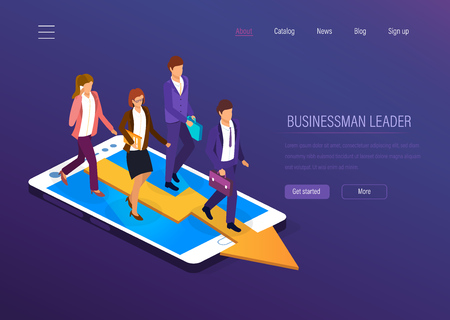Businessman leader. Business success, achievement high goals, growth on career ladder, financial well-being, business team, leadership. Entrepreneur business man leader with team. Isometric vector.