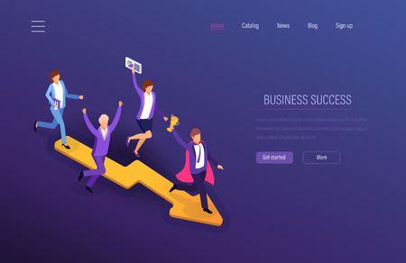 Business success. Teamwork success, financial prosperity, successful business motivation of team to career growth, achievement of common goal, leadership, development in work. Isometric vector. Çizim