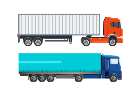 Modern heavy-duty cars, trucks, van, refrigerator for the delivery of mail and cargo. Worldwide delivery, courier service, logistics, delivery on a large truck with covered awning vector illustration. Illustration