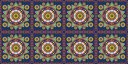 Mexican ornament, seamless background, pattern, decoration, colorful decor in ethnic style. Tiles in Mexican style, for wallpaper, backgrounds and decoration designs. Vector illustration. 向量圖像