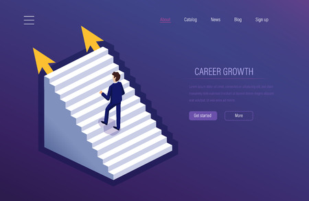 Career growth. Achievement of high goals, rising to career ladder, success in work, financial well-being, leadership, successful business, improving qualifiqation. Isometric vector.