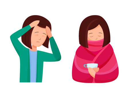 Health problems, Zika virus, malaria, human discomfort symptoms. Girl feels malaise, weakness, headache and fever associated with the disease. Treatment for viral disease. Cartoon vector.