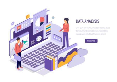 Data analysis. Marketing research, analysis of statistical data, financial research, strategy planning, business analytics, advertising information, study of performance indicators. Isometric vector.
