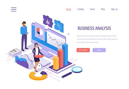 Análisis empresarial. Análisis de datos de gráficos y tablas, investigación de mercados, planificación empresarial financiera, estudio de indicadores de rendimiento, análisis de redes sociales, diagrama de gráfico de informes. Vector isométrico.