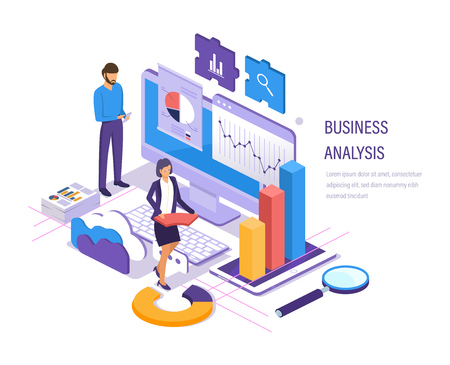 Business analysis. Data analytics of graphs and charts, marketing research, financial business planning, study of performance indicators, social media analysis. Isometric vector. 向量圖像